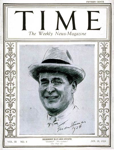 TIME Magazine Cover: Herbert B. Swope -- Jan. 28, 1924