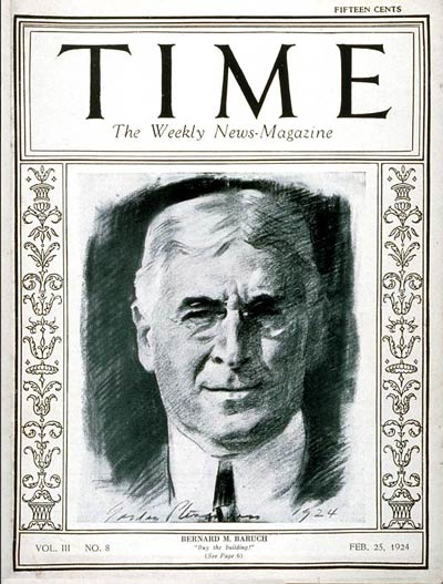 TIME Magazine Cover: Bernard M. Baruch -- Feb. 25, 1924