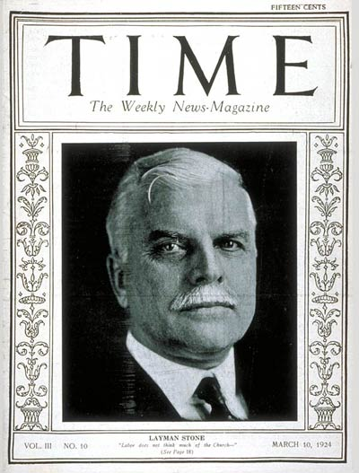TIME Magazine Cover: Warren S. Stone -- Mar. 10, 1924