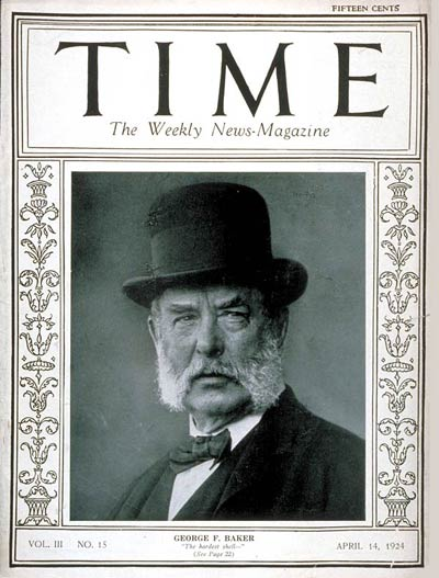 TIME Magazine Cover: George F. Baker -- Apr. 14, 1924