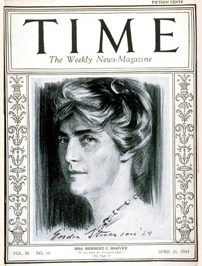 TIME Magazine Cover: Mrs. Herbert Hoover -- Apr. 21, 1924