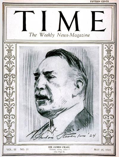 TIME Magazine Cover: Sir James Craig -- May 26, 1924