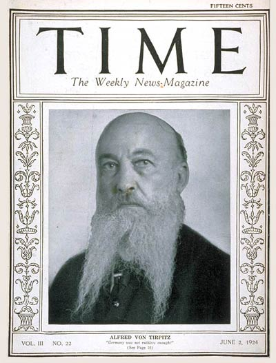 TIME Magazine Cover: Admiral von Tirpitz -- June 2, 1924