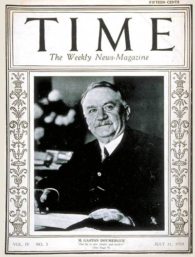 TIME Magazine Cover: Gaston Doumergue -- July 21, 1924