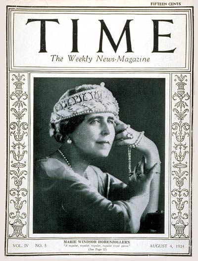TIME Magazine Cover: Queen Marie -- Aug. 4, 1924