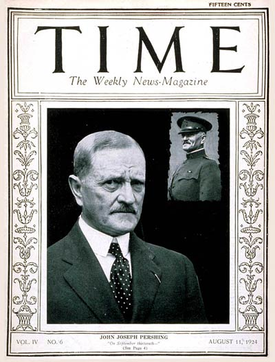 American General John J. Pershing today and Inset: during World War I