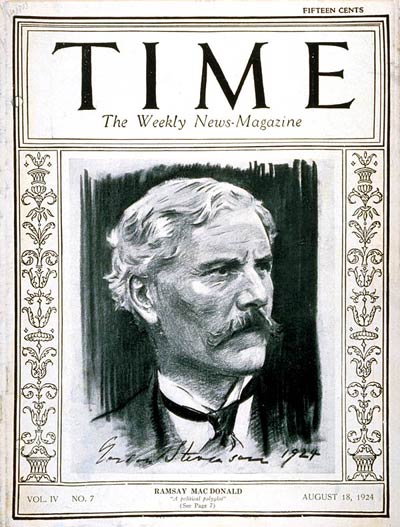TIME Magazine Cover: Ramsay MacDonald -- Aug. 18, 1924