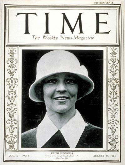 TIME Magazine Cover: Edith Cummings -- Aug. 25, 1924