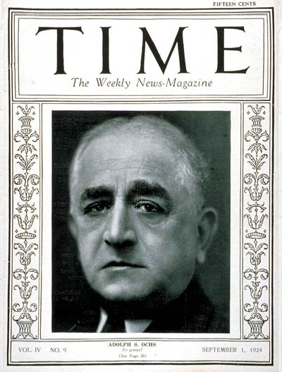 TIME Magazine Cover: Adolph S. Ochs -- Sep. 1, 1924
