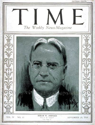 TIME Magazine Cover: Senator Hiram Johnson -- Sep. 29, 1924