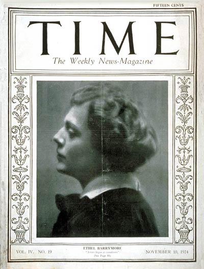 TIME Magazine Cover: Ethel Barrymore -- Nov. 10, 1924