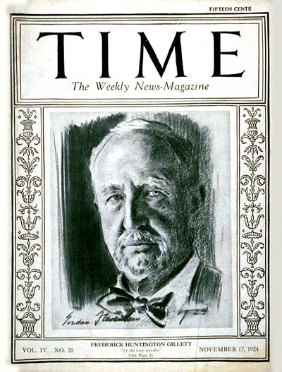 TIME Magazine Cover: Frederick Gillett -- Nov. 17, 1924