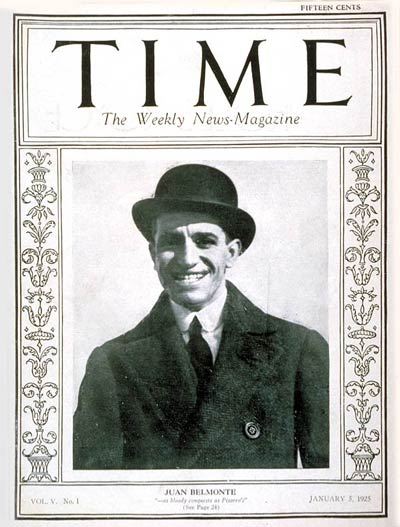 TIME Magazine Cover: Juan Belmonte -- Jan. 5, 1925