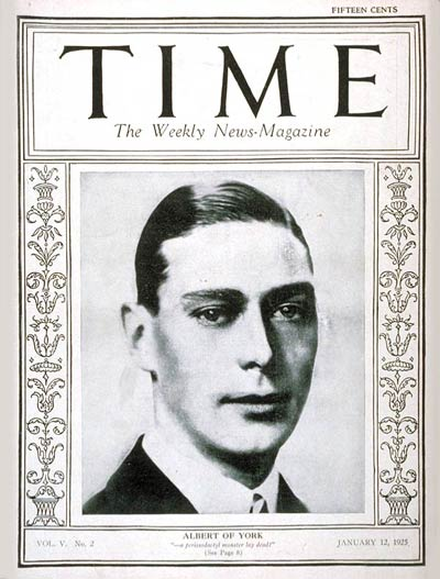 TIME Magazine Cover: Albert of York -- Jan. 12, 1925