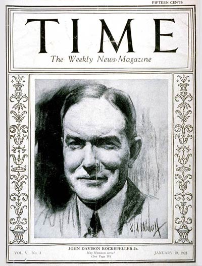 TIME Magazine Cover: John D. Rockefeller Jr. -- Jan. 19, 1925