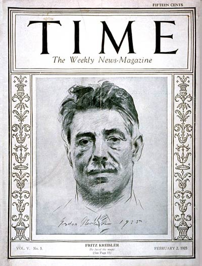 TIME Magazine Cover: Fritz Kreisler -- Feb. 2, 1925