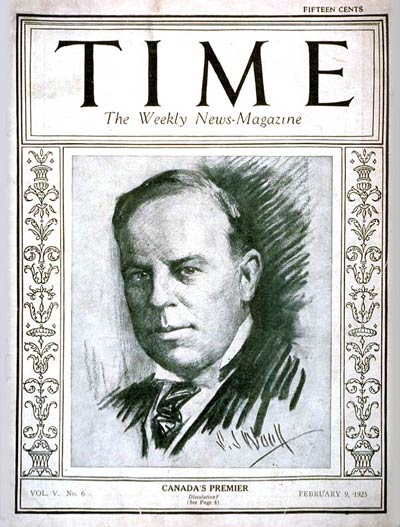 TIME Magazine Cover: William Mackenzie King -- Feb. 9, 1925