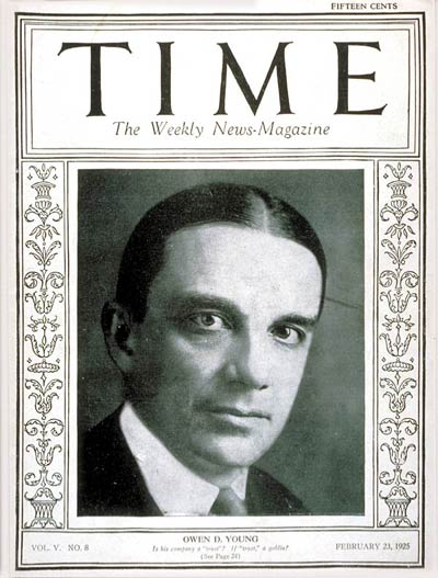TIME Magazine Cover: Owen D. Young -- Feb. 23, 1925