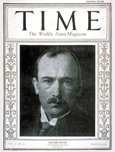 TIME Magazine Cover: Eduard Benes -- Mar. 23, 1925