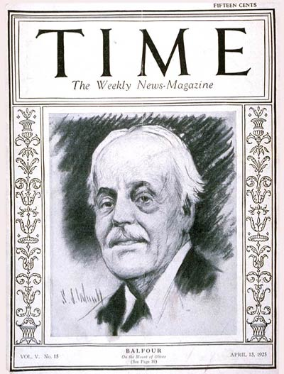 TIME Magazine Cover: Lord Arthur Balfour -- Apr. 13, 1925