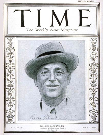 TIME Magazine Cover: Walter P. Chrysler -- Apr. 20, 1925