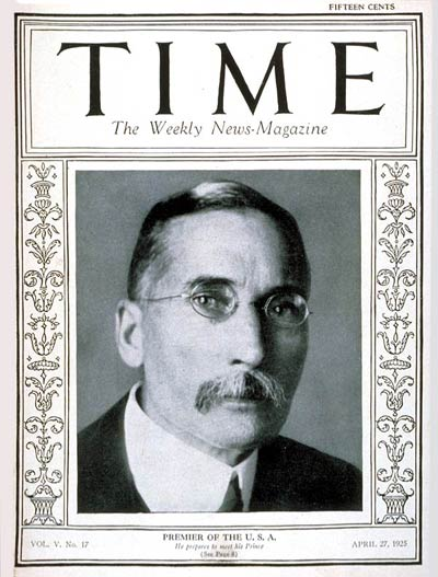 TIME Magazine Cover: James B. Hertzog -- Apr. 27, 1925