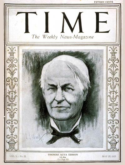 TIME Magazine Cover: Thomas A. Edison -- May 25, 1925