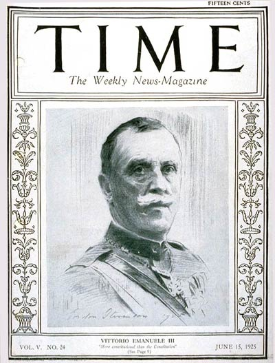 TIME Magazine Cover: King Vittorio -- June 15, 1925