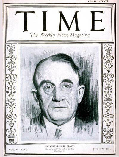 TIME Magazine Cover: Dr. Charles H. Mayo -- June 22, 1925