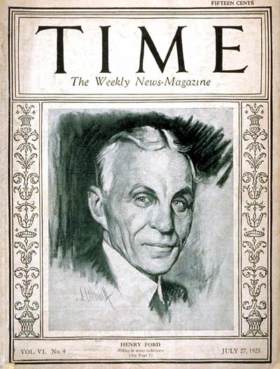 TIME Magazine Cover: Henry Ford -- July 27, 1925