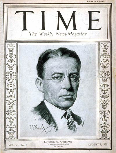 TIME Magazine Cover: Lincoln C. Andrews -- Aug. 3, 1925