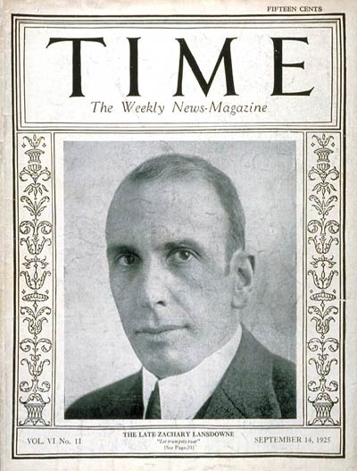 TIME Magazine Cover: Zachary Lansdowne -- Sep. 14, 1925