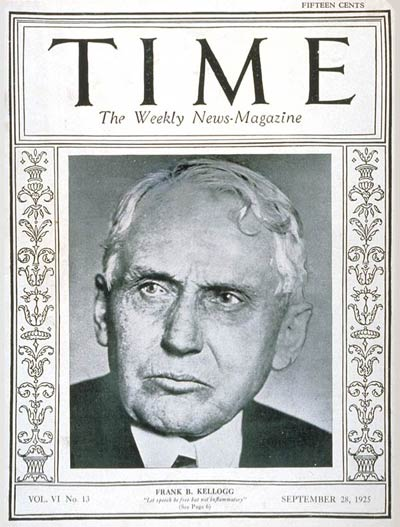 TIME Magazine Cover: Frank B. Kellogg -- Sep. 28, 1925