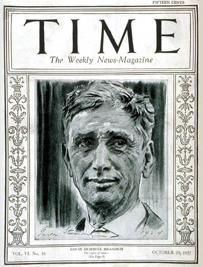 TIME Magazine Cover: Louis D. Brandeis -- Oct. 19, 1925