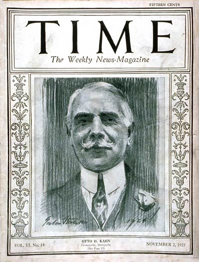 TIME Magazine Cover: Otto H. Kahn -- Nov. 2, 1925
