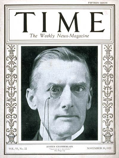TIME Magazine Cover: Austen Chamberlain -- Nov. 30, 1925