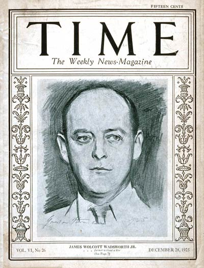 TIME Magazine Cover: James Wadsworth Jr. -- Dec. 28, 1925