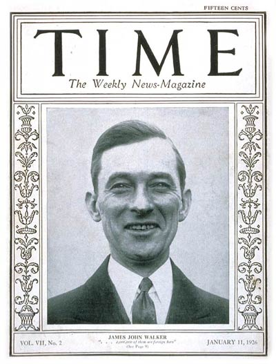 TIME Magazine Cover: Jimmy Walker -- Jan. 11, 1926