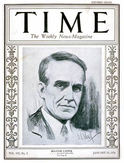TIME Magazine Cover: Senator Arthur Capper -- Jan. 18, 1926