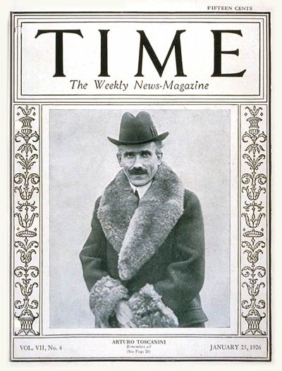 TIME Magazine Cover: Arturo Toscanini -- Jan. 25, 1926