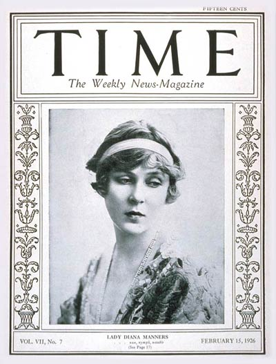 TIME Magazine Cover: Lady Diana Manners -- Feb. 15, 1926