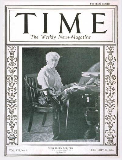 TIME Magazine Cover: Ellen Scripps -- Feb. 22, 1926