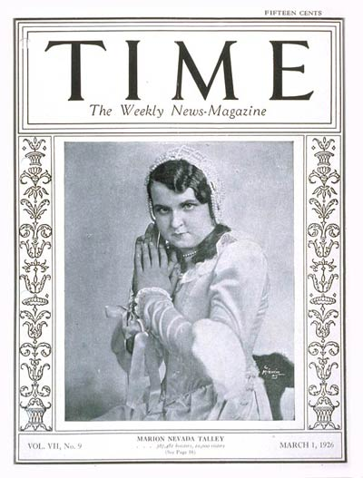 TIME Magazine Cover: Marion N. Talley -- Mar. 1, 1926