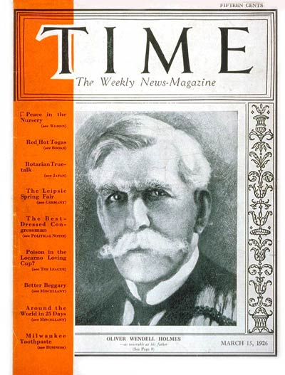 TIME Magazine Cover: Oliver Wendell Holmes -- Mar. 15, 1926