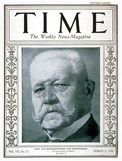 TIME Magazine Cover: Paul von Hindenburg -- Mar. 22, 1926