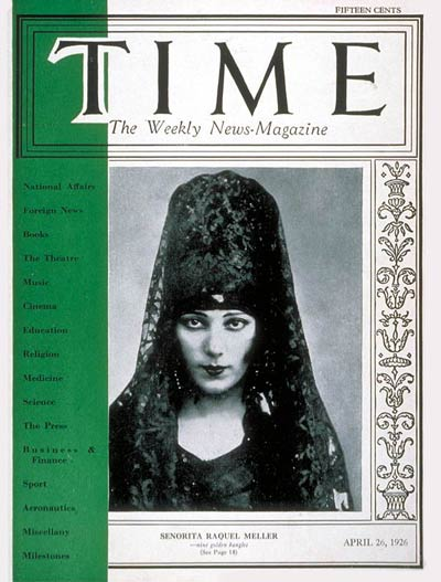 TIME Magazine Cover: Raquel Meller -- Apr. 26, 1926