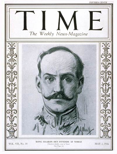 TIME Magazine Cover: King Haakon VII -- May 3, 1926
