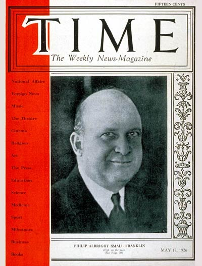 TIME Magazine Cover: Philip A.S. Franklin -- May 17, 1926