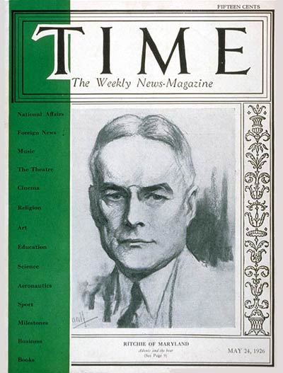 TIME Magazine Cover: Albert C. Ritchie -- May 24, 1926
