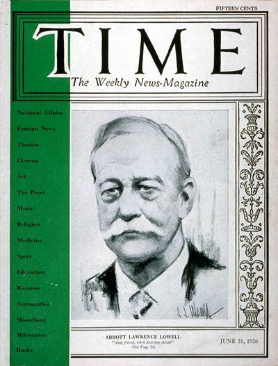 TIME Magazine Cover: A. Lawrence Lowell -- June 21, 1926